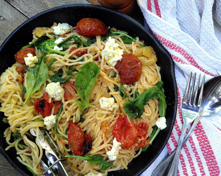Pasta with Cherry Tomato and Fennel Confit + Whipped Feta