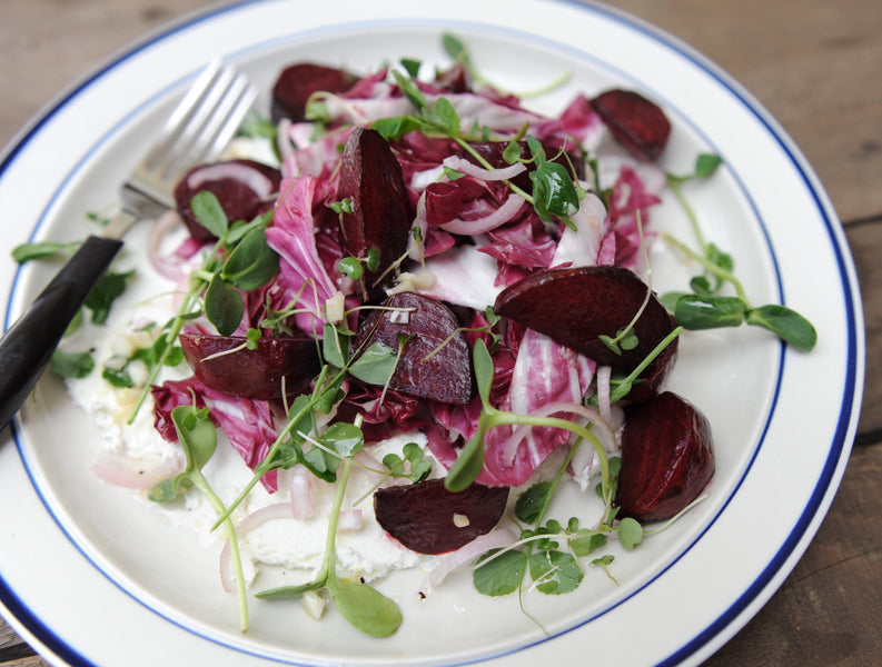 Roasted Beet + Radicchio Salad with Labneh