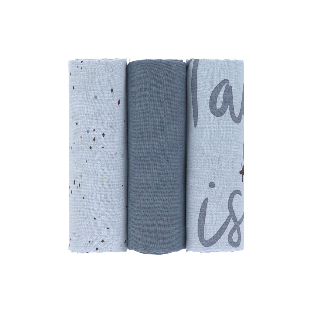 Muslin Swaddle 3er Set || More Magic Seal Blue