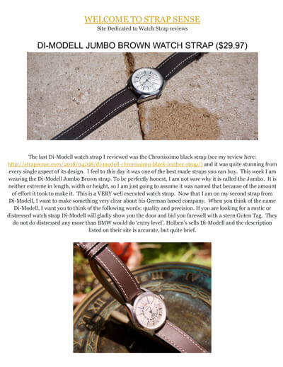 Strap Sense review of the Di-Modell Jumbo
