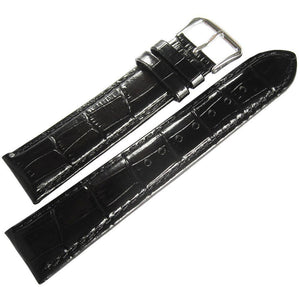 DeBeer Crocodile-Grain Leather Watch Strap Black-Holben's Fine Watch Bands