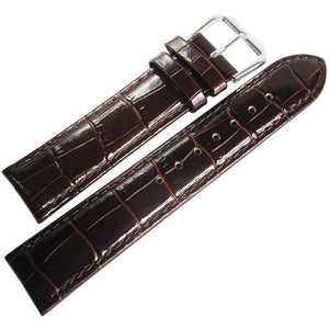 DeBeer Crocodile-Grain Leather Watch Strap Brown-Holben's Fine Watch Bands