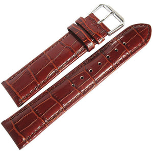 DeBeer Crocodile-Grain Leather Watch Strap Havana-Holben's Fine Watch Bands