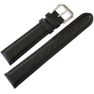 DeBeer Lizard-Grain Leather Black-Holben's Fine Watch Bands