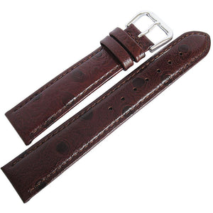 DeBeer Ostrich-Grain Leather Brown-Holben's Fine Watch Bands