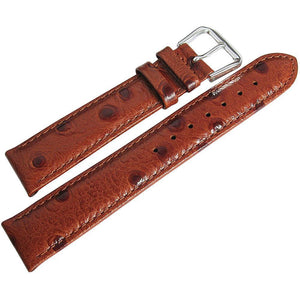 DeBeer Ostrich-Grain Leather Watch Strap Havana-Holben's Fine Watch Bands