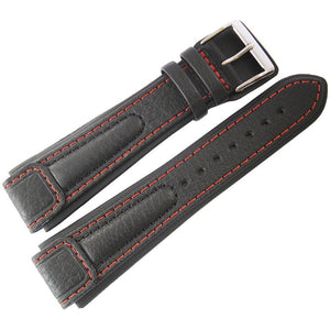 Di-Modell Chronissimo Leather Watch Strap Long Black Red-Stitch-Holben's Fine Watch Bands