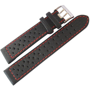 Di-Modell Rallye Black Red Leather Watch Strap-Holben's Fine Watch Bands