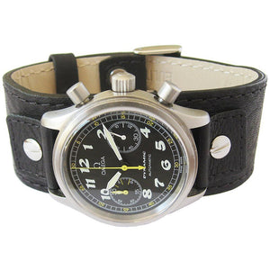 Eulit Riveted Buffalo-Grain Cuff Leather Watch Strap Black-Holben's Fine Watch Bands
