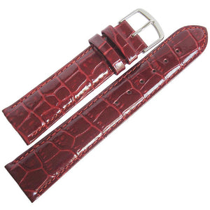 Fluco Chiara Crocodile-Grain Leather Watch Strap Burgundy-Holben's Fine Watch Bands