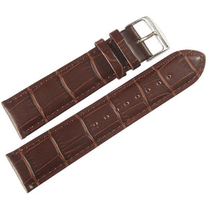 Fluco Imola Crocodile-Grain Leather Watch Strap Brown-Holben's Fine Watch Bands