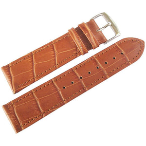 Fluco Imola Crocodile-Grain Leather Watch Strap Tan-Holben's Fine Watch Bands