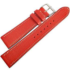 Fluco Montana Goatskin Leather Watch Strap Red-Holben's Fine Watch Bands