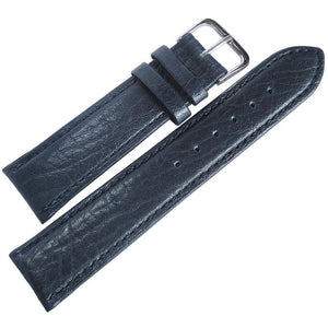 Fluco Record Buffalo-Grain Leather Watch Strap Blue-Holben's Fine Watch Bands