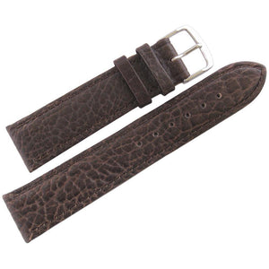 Fluco Record Buffalo-Grain Leather Watch Strap Brown-Holben's Fine Watch Bands