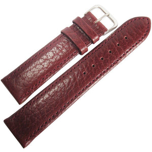 Fluco Record Buffalo-Grain Leather Watch Strap Burgundy-Holben's Fine Watch Bands