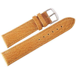 Fluco Record Buffalo-Grain Leather Watch Strap Tan-Holben's Fine Watch Bands