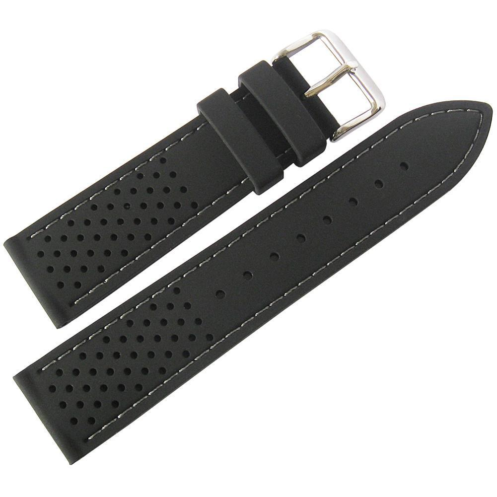 820b4411c33 Fluco Silicone Rubber Watch Strap Tropic Black Gray Stitch ...