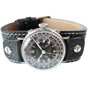 Fluco Vigo Riveted Cuff Black Leather Watch Strap-Holben's Fine Watch Bands