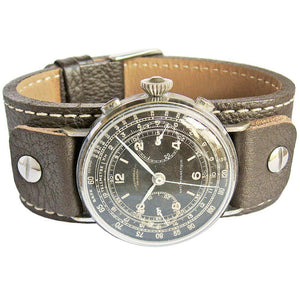 Fluco Vigo Riveted Cuff Brown Leather Watch Strap-Holben's Fine Watch Bands