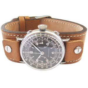 Fluco Vigo Riveted Cuff Tan Leather Watch Strap-Holben's Fine Watch Bands
