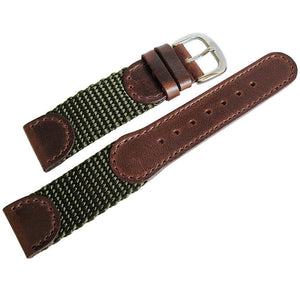 Hadley-Roma MS 866 Swiss Army Leather Nylon Watch Strap Green-Holben's Fine Watch Bands