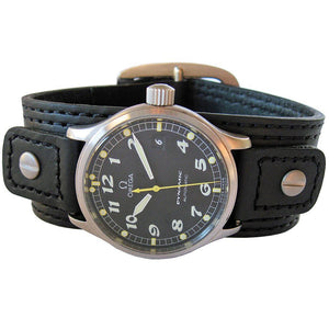 Hadley-Roma MS 912 Riveted Cuff Leather Watch Strap Black-Holben's Fine Watch Bands