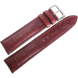 RIOS1931 Louisiana Alligator-Grain Leather Watch Strap Burgundy-Holben's Fine Watch Bands