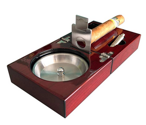 Habanos & Hermanos - Compact Cigar Ashtray with Cigar Cutter and Punch