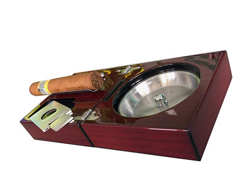 Image of Habanos & Hermanos - Compact Cigar Ashtray with Cigar Cutter and Punch