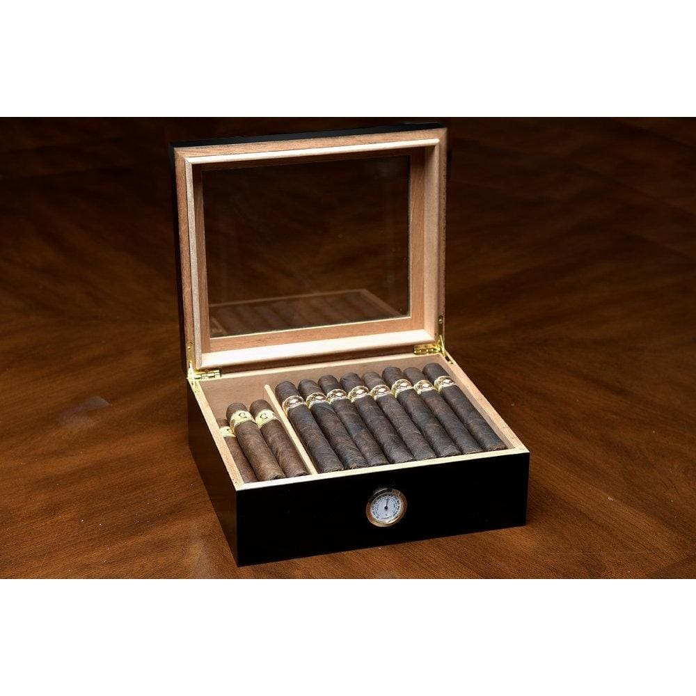 Black Humidor with Glass Top