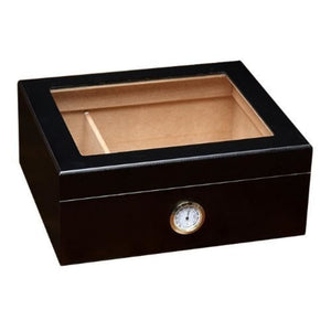 Black Humidor with Glass Top - Black
