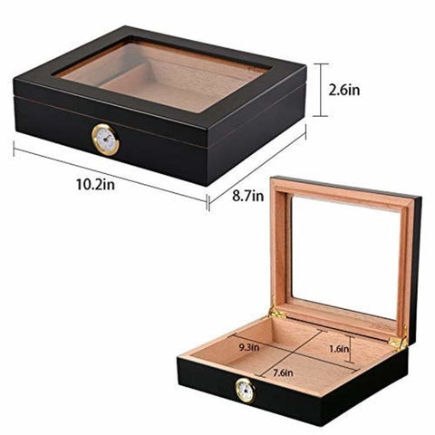 Image of Cigar Humidor Case with Hygrometer and Humidifier