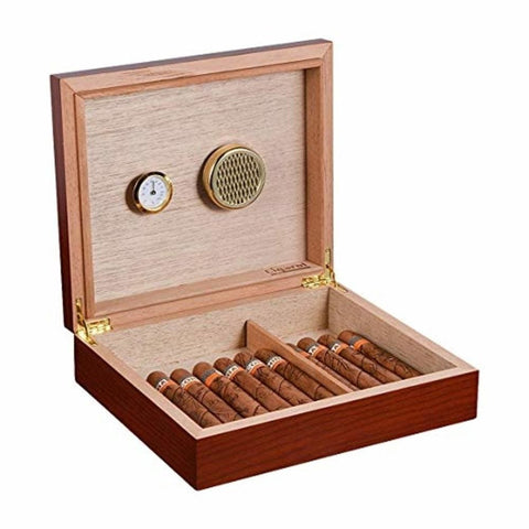 Cigar Humidor Case with Hygrometer and Humidifier - Brown-2