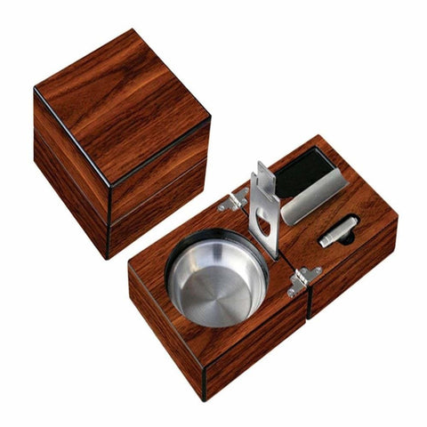Folding Wood Cigar Ashtray w/Cutter