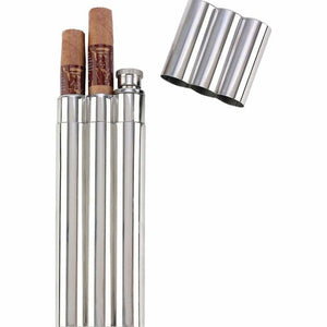 Maxam 16pc 2oz Stainless Steel Flask with 2 Cigar Tubes in Countertop Display