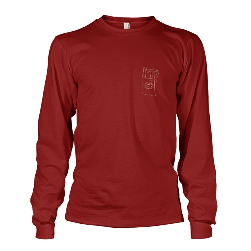 Rolling Tobacco Left Chest Long Sleeve - Cardinal Red / S - Long Sleeves