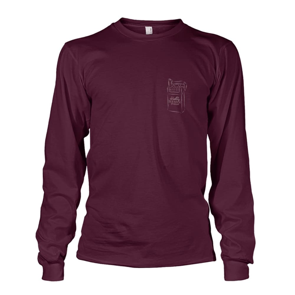 Rolling Tobacco Left Chest Long Sleeve - Maroon / S - Long Sleeves