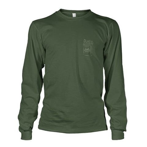 Rolling Tobacco Left Chest Long Sleeve - Military Green / S - Long Sleeves