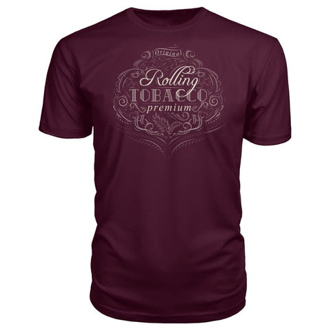 Image of Rolling Tobacco Premium Tee - Maroon / S - Short Sleeves