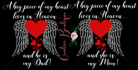 A Big Piece of my Heart is in Heaven Mom Dad