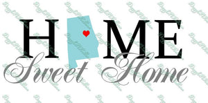 Home Sweet Home Alabama AL Cutting file File SVG DXF png eps state hometown heart Cricut Explore Silhouette home clipart vector