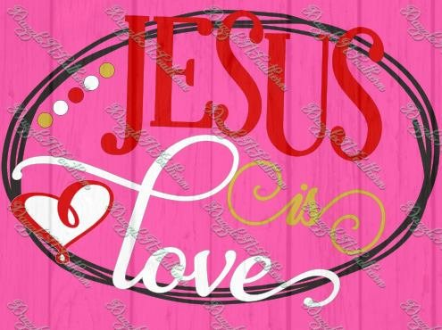 Jesus is love vine hearts heart religious religion God SVG cut cutting file Silhouette Cricut image