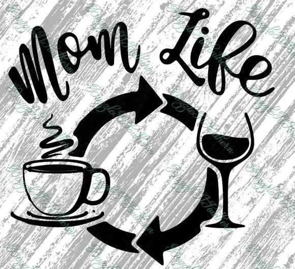 Mom life coffee wine day daily iron on Wife Mother Mama SVG Cutting cut File Cricut Silhouette vector image morning drink