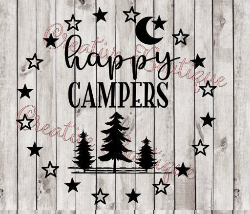 Camping Happy campers camper camp fire campfire moon stars tree trees campsite SVG Cutting File Cricut Silhouette summer bucket