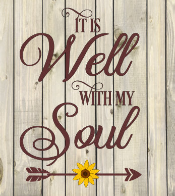 It is well with my soul sunflower arrow feather sign religious religion Jesus God Lord SVG Cutting File Cricut Silhouette vector image