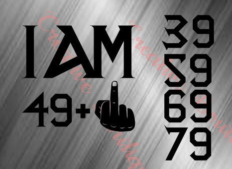 I am Birthday file 39 49 59 69 79 plus middle finger equals 50 60 70 80 SVG Cutting Cut Cricut Silhouette vector image