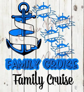 Family Cruise ship anchor wheel ocean SVG cut cutting file for making shirt Silhouette Cricut image vector summer boat cruising cruises