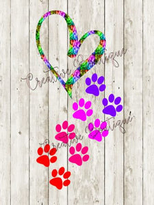 Heart and Paw Prints cutting file SVG Silhouette Cricut