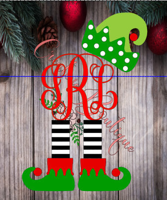 Monogram Christmas Elf SVG cutting file Cricut Silhouette vector image hat stockings shoes